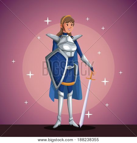 warrior princess in costume party in spotlight background with bright vector illustration