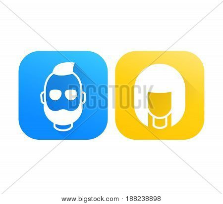 Avatars, girl and bearded man, profile icons over white, eps 10 file, easy to edit