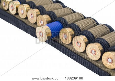 cage with cartridges for hunting rifles isolated on white background