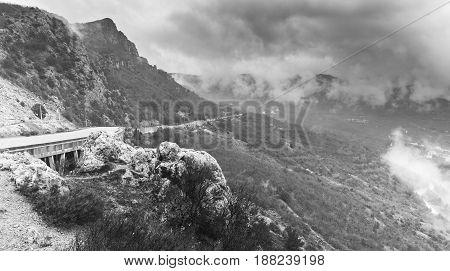 Crimea Peninsula, Black And White Photo