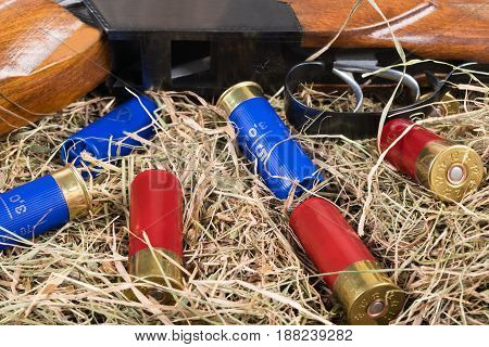 The hunting rifle and cartridges lie on the background of hay