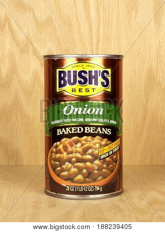 RIVER FALLS,WISCONSIN-MAY 26,2017: A can of Bush's brand baked beans with onions on a wood background.