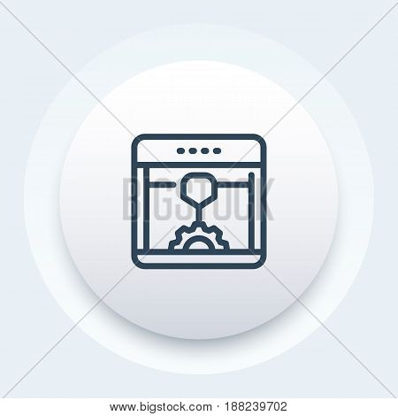 3d printer, additive manufacturing line icon, vector illustration, eps 10 file, easy to edit