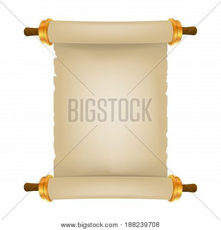 Old scroll with place for text. Parchment realistic. Vintage blank paper scroll isolated on white background. Vector illustration. Eps 10 3d