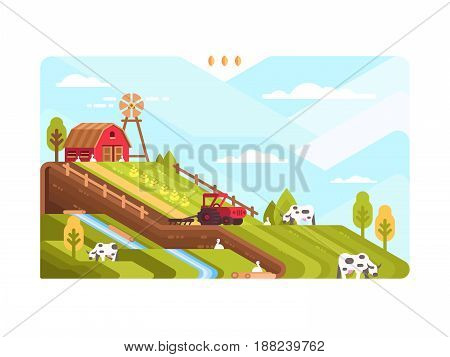 Agricultural farm with fields and livestock. Harvesting and cultivating land. Vector illustration