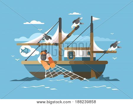Fisherman pulls fishing net from sea with fish. Vector illustration