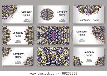 Retro hand-drawn card with mandala. Vintage background with place for text. Can be used for invitation, banner, others cards.