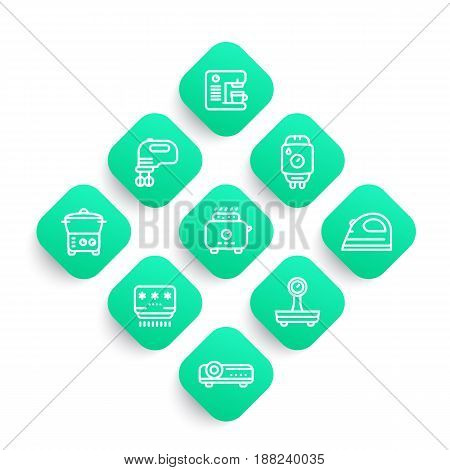 Appliances, consumer electronics line icons set, toaster, coffee machine, blender, steamer, water heater, air conditioner