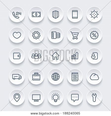 icons for web, 25 linear pictograms set, vector illustration
