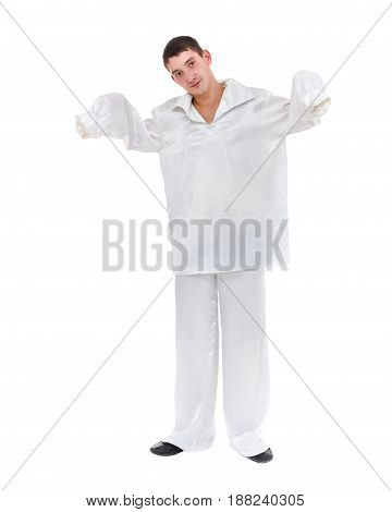 Portrait of sad mime, Pierrot isolated on white background in full length.