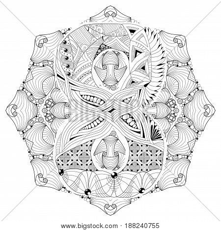 Hand-painted art design. Adult anti-stress coloring page. Black and white hand drawn illustration mandala with numero eight for coloring book