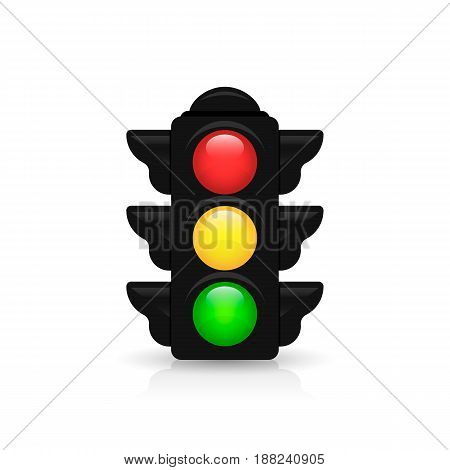 Traffic Light With Reflection And Shadow On A White Background