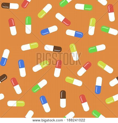 Colored Pills Isolated on Orange Background. Seamless Medical Pattern