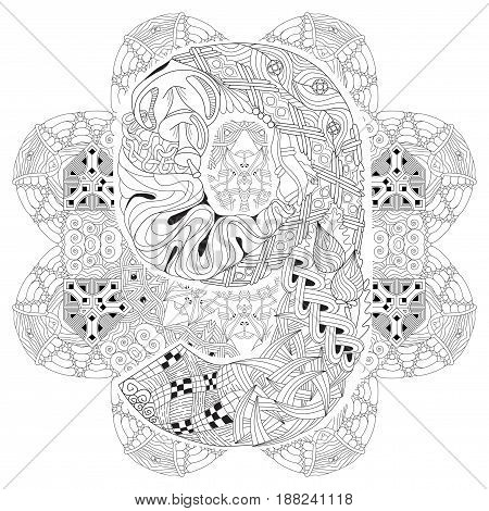 Hand-painted art design. Adult anti-stress coloring page. Black and white hand drawn illustration mandala with numero nine for coloring book