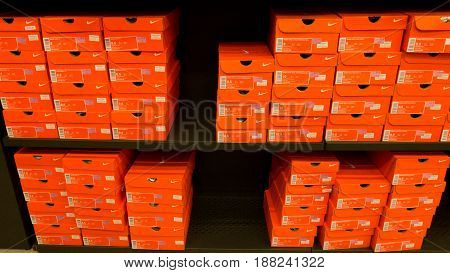 Antwerp, Belgium - July 6, 2015: Background Of Stacked Nike Shoes Boxes At Kuala Lumpur City For Tou