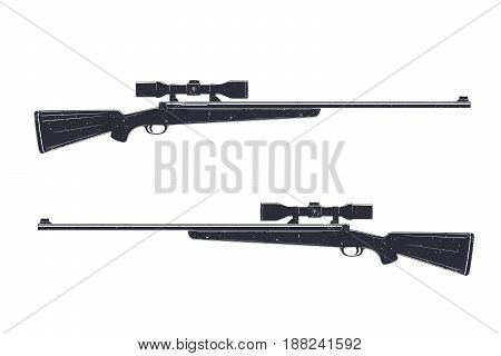 Hunting rifle with optical sight, sniper rifle isolated over white, vector illustration