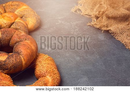 Bakery background with varity of bagels over blackboard