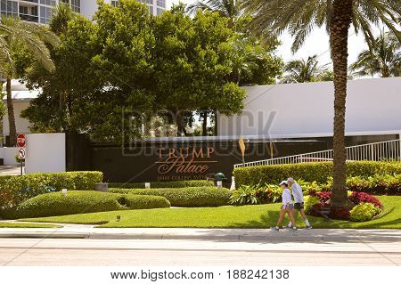 Sunny Isles Beach Miami Florida USA - May 26 2017 : Trump Palace residential condominiums in Sunny Isles Beach Florida
