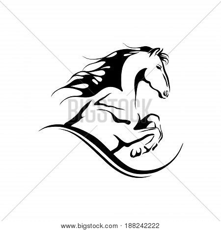 stylized hand drawn jumping horse black and white vector outline, doodle tribal style for tattoo, cards, ride.
