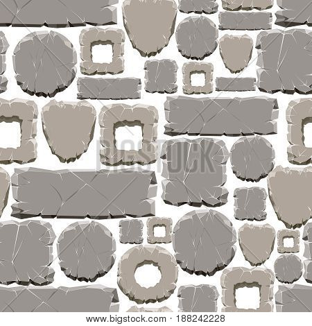 Cartoon style stones seamless pattern. Vector grey stone samless texture