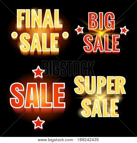 Sale lettering sign vector illustration. Colorful shining sale banners on black backdrop