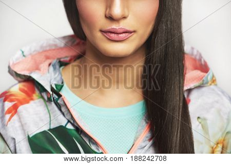 Pretty Unrecognizable Woman Posing In Bright Casual Jacket