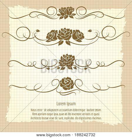 Elegance decorative ornaments with roses on vintage notebook background. Vector illustration