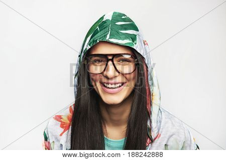Cute Cheerful Woman In Glasses And Casual Jacket
