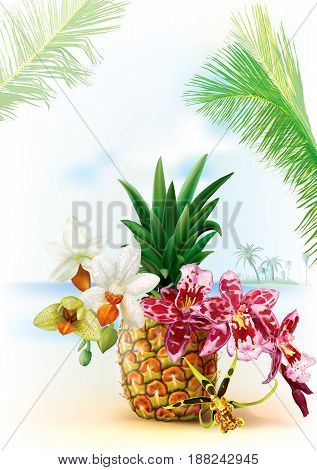 Summer tropical background with orchid flowers and pineapple fruit. Vector illustration