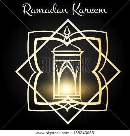Ramadan Kareem poster design with golden lighting lamp. Vector illustration