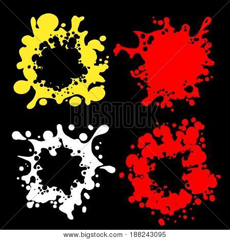 Vector color splashes shape silhouettes on black background