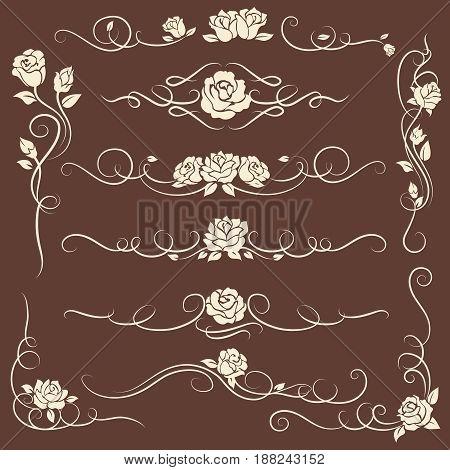 Vintage decorative flourish ornaments with roses on dark background. Vector illustration