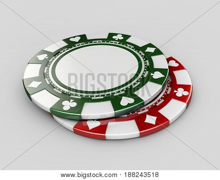 3D Illustration Of Background With Casino Chips, Isolated White