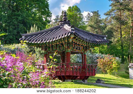 Korean Traditional Garden in Kiev Ukraine in the Summer