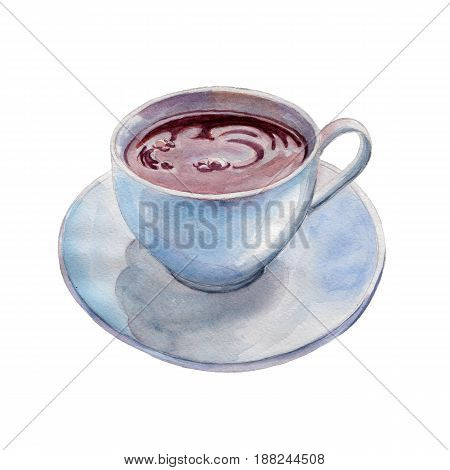 The tea cup isolated on white background watercolor illustration in hand-drawn style.