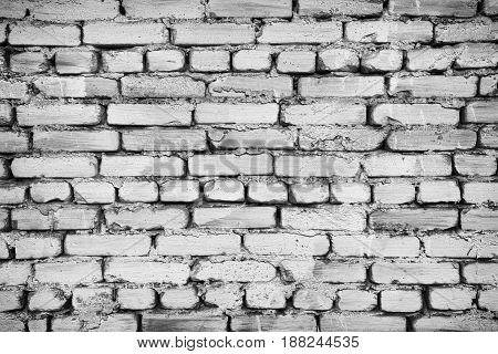 Fragment Of Old Brick Fence Whitewashed By Lime, Relief Surface And Natural Background, Black And Wh