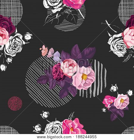 Floral seamless pattern with bunches of wild rose flowers and gray round elements of different textures on black background. Vector illustration in retro style for textile print, wrapping paper.