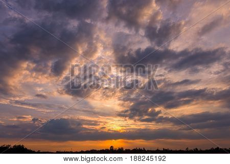 Clouds and sunset sky background. looking up view