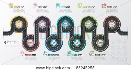 Navigation map infographic 9 steps timeline concept. Winding road. Vector illustration.