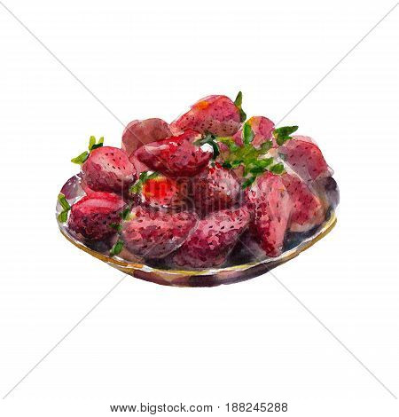 Dish of strawberries isolated on white background watercolor illustration in hand-drawn style.