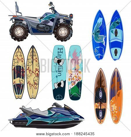 Vector beach sport equipment icons set. Water scooter quad bike two sides of surfing boards and wakeboard isolated on white background. Flat style design.