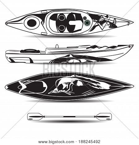 Vector Illustration Of Kayak With Paddle Isolated On White Background Top Side And Bottom View