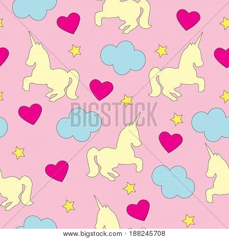 Vector seamless picture. A pattern with a unicorn, heart and a star on a pink background.