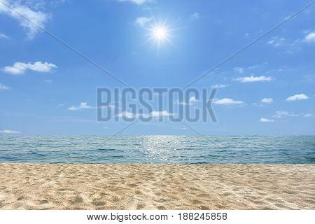 Tropical beach and sea with blue sky