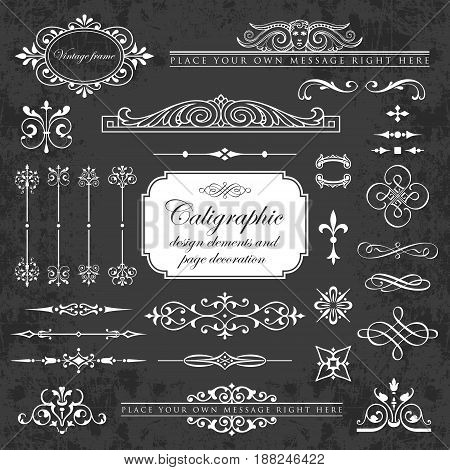 Calligraphic design elements and page decoration on a chalkboard background