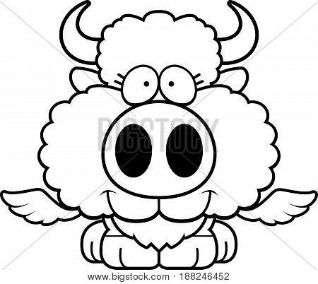 Cartoon Buffalo Wings Smiling