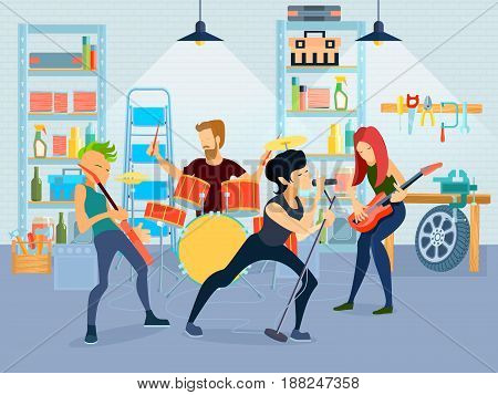 Colored flat young musicians composition four people playing guitar with band in garage vector illustration