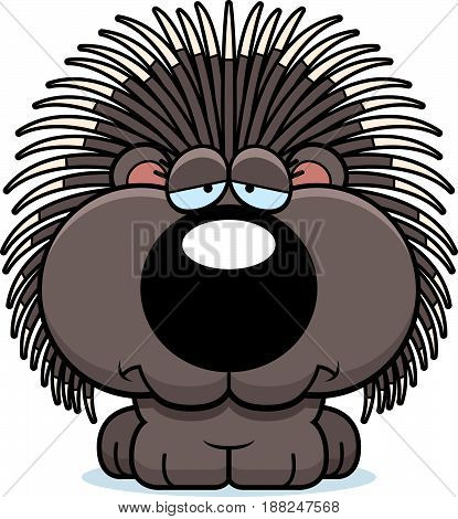 Cartoon Sad Porcupine
