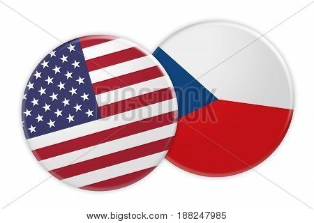 US News Concept: USA Flag Button On Czech Republic Flag Button 3d illustration on white background