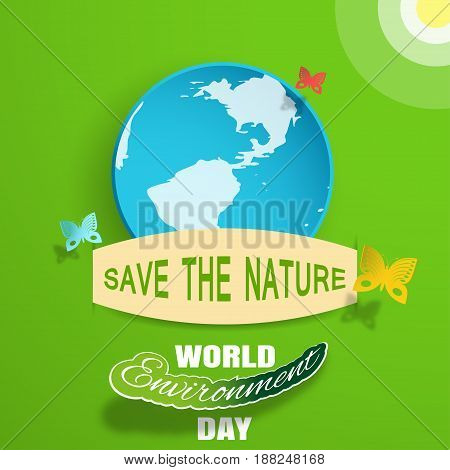 World Environment Day vector greeting paper craft on the gradient green background with blue globe insert in the pocket sun clouds shadow butterflies and text.